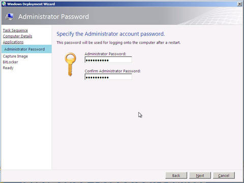 Administrator Password tab. Enter Administrator account password and confirm it.
