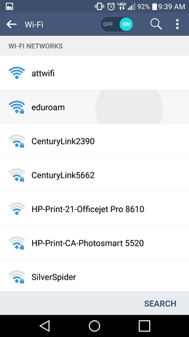 Android eduroam Settings
