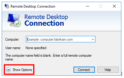 Remote Desktop for Windows options