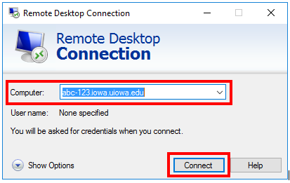 Connect screenshot for Remote Desktop Connection for Windows