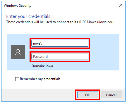 Windows credential prompt window