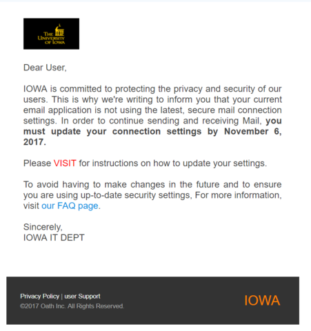 "IOWA UPDATE phishing email with the text beginning ""Dear User,   IOWA is committed to protecting the privacy and security of our users. This is why we're writing..."""