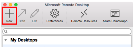 Microsoft Remote Desktop add new profile button