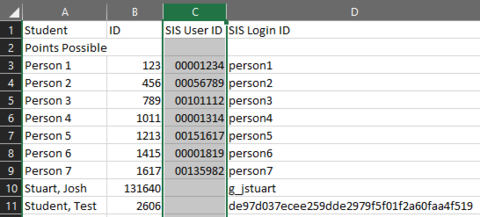 Correctly configured, the SIS User ID column should now have 8 digit numbers
