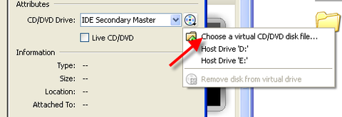 red arrow pointing to Choose a virtual CD/DVD disk file...