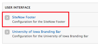 The SiteNow Footer button in the User Interface section