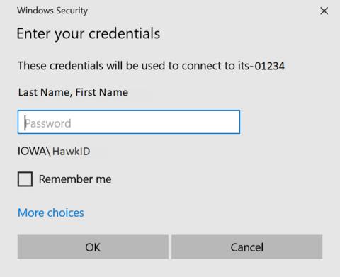 Entering HawkID credentials to connect to remote desktop