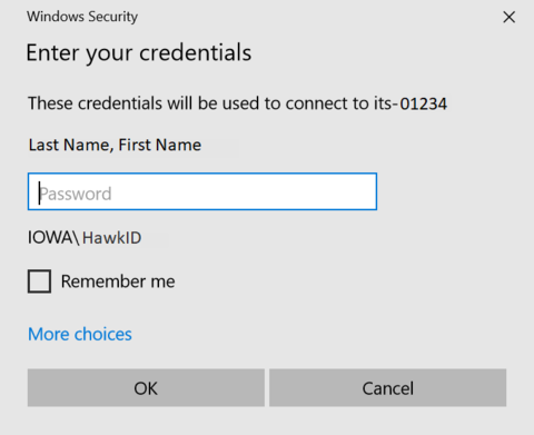 Windows Security box asking for credentials to connect to Remote Desktop with More choices link in bottom left
