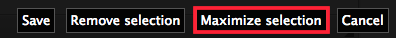 Maximize selection button on the cropping toolbar