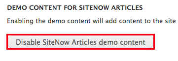 The button to disable SiteNow articles demo content