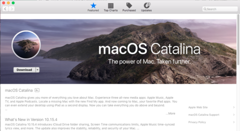Image showing Download button in App Store to download macOS Catalina