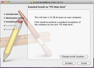 "Standard Install on \""ITS Help Desk\"" Press Install button."