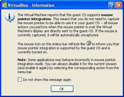 Mouse integration message. Click OK.