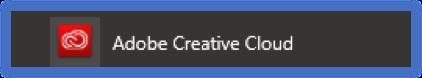 Adobe Creative Cloud start menu