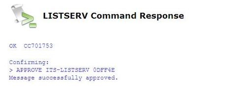 LISTSERV Command Response message