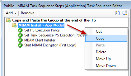 Copy MBAM Install - App Model Task Sequence Group