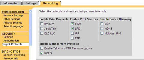 Mgmt. Protocols. Networking tab.