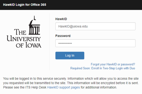 HawkID sign-in for Office 365