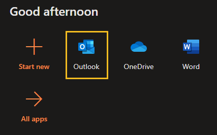 Outlook icon on Office 365 landing page