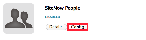 The Config button under the SiteNow People app