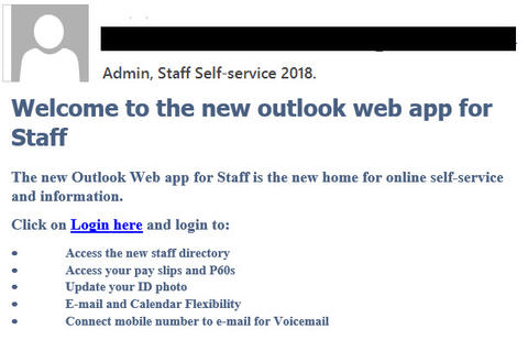 "Admin, Staff Self-service 2018 phishing example with text ""Welcome to the new outlook web app for Staff"""