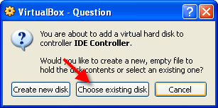Question pop-up box. red arrow pointing to Choose existing disk button.