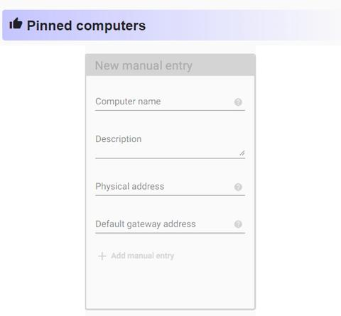 New Manual Computer Entry with textboxes to enter the computer name, description of the computer, physical address and gateway address.