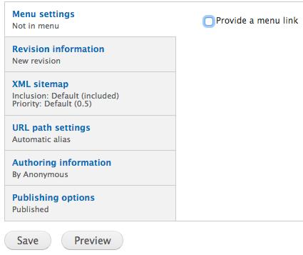 Menu settings provide a menu link box