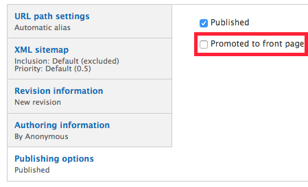 The promote to front page button under publishing options