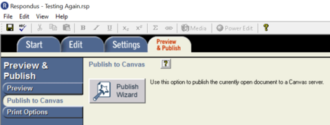Publish to Canvas and publish wizard
