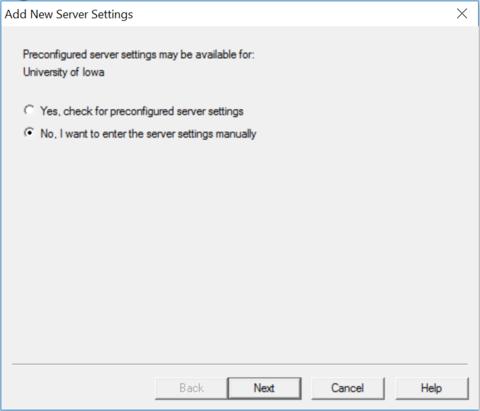 Enter server settings manually
