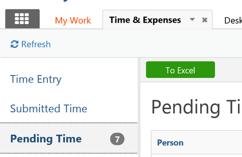 Shows where the Time & Expenses tab is and the Pending Time tab