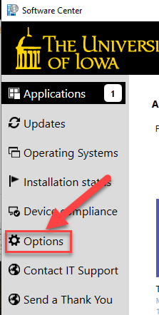 Options Link in Software Center