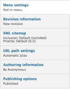 Editing options menu