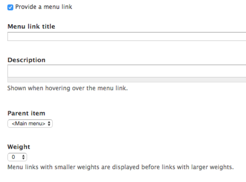 Creation of a menu link options