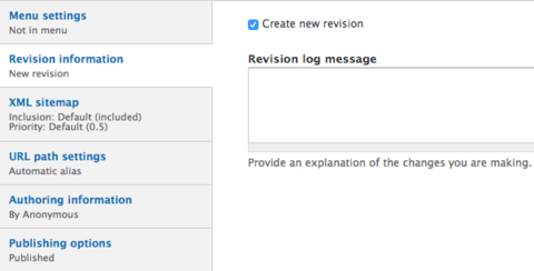 Revision information options