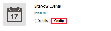 Config button under SiteNow Events app