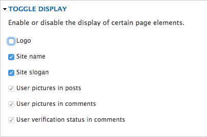 The Toggle Display section under theme settings
