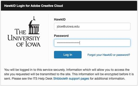 HawkID Login for Adobe Creative Cloud