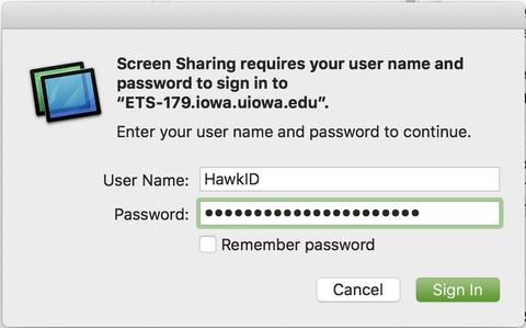 screen sharing login creds