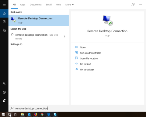 Where go to search for Remote Desktop on your Windows PC