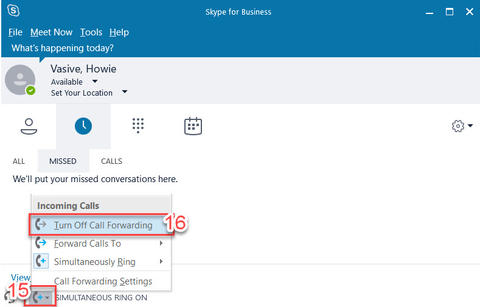 Forwarding Calls with Skype for Business (Windows