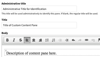Editing page for a single-use custom content pane