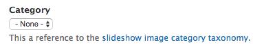 Slideshow image category dropdown menu