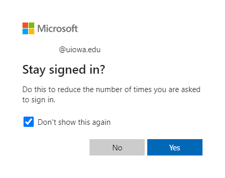 Prompt from Office 365 asking if you want to stay signed in