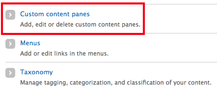 The structure menu with the custom content panes option