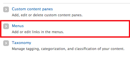 The Menus option under the Structure tab in the admin toolbar