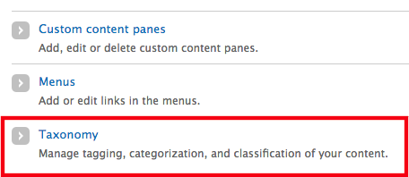 The Taxonomy option under Structure in the admin toolbar