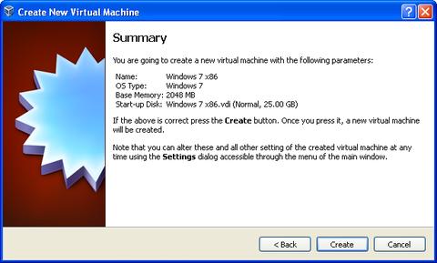 Summary screen. Click Create button.
