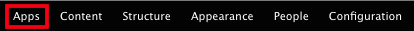 The 'Apps' button on the admin toolbar